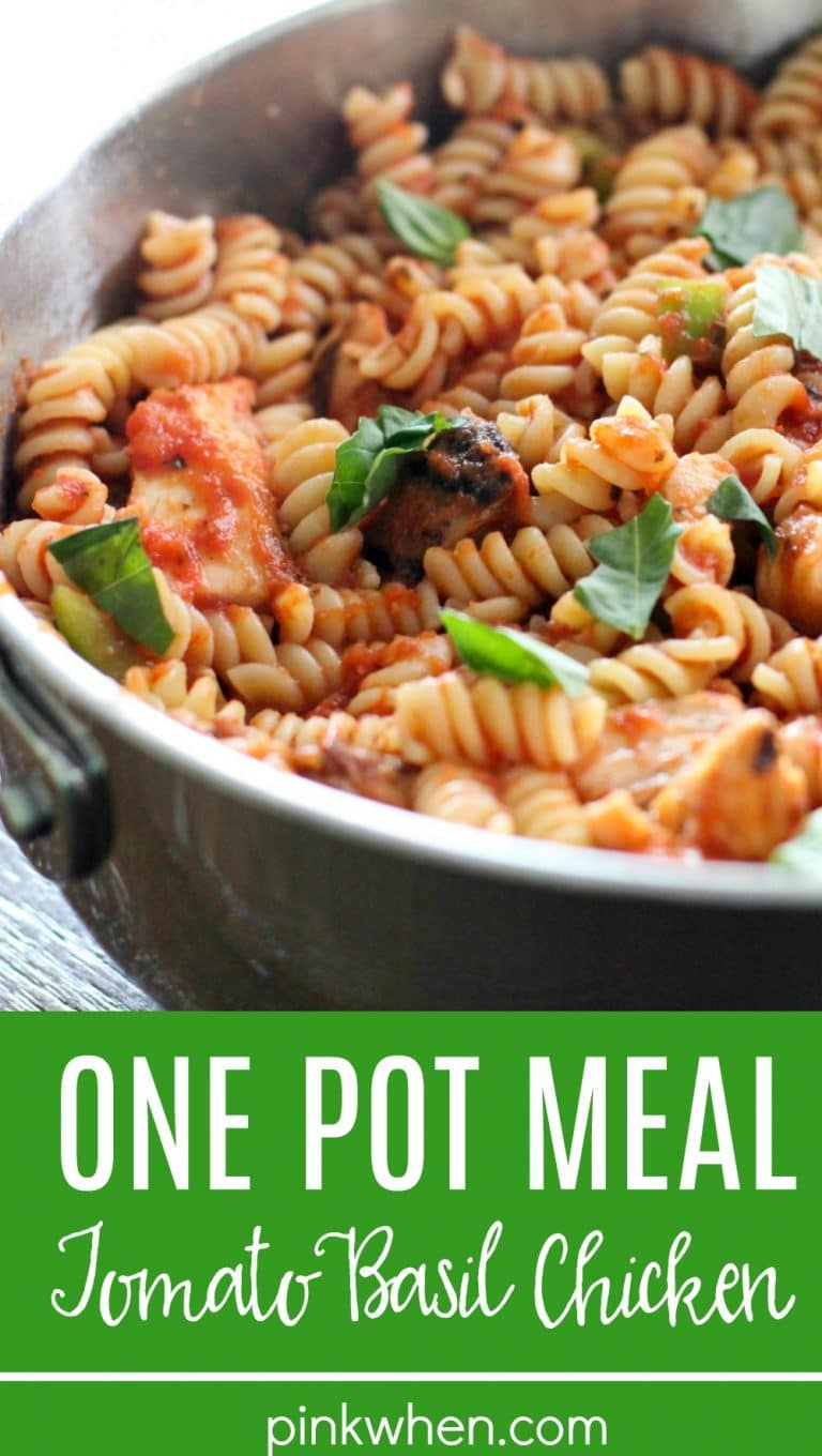 This Tomato Basil Chicken is not only delicious, but it's a one-pot meal and completely finished in just 30 minutes! That means quick dinner and quick and easy cleanup!! It's a perfect weeknight meal the entire family will enjoy. #onepotmeal #tomatobasilchicken #30minutemeal