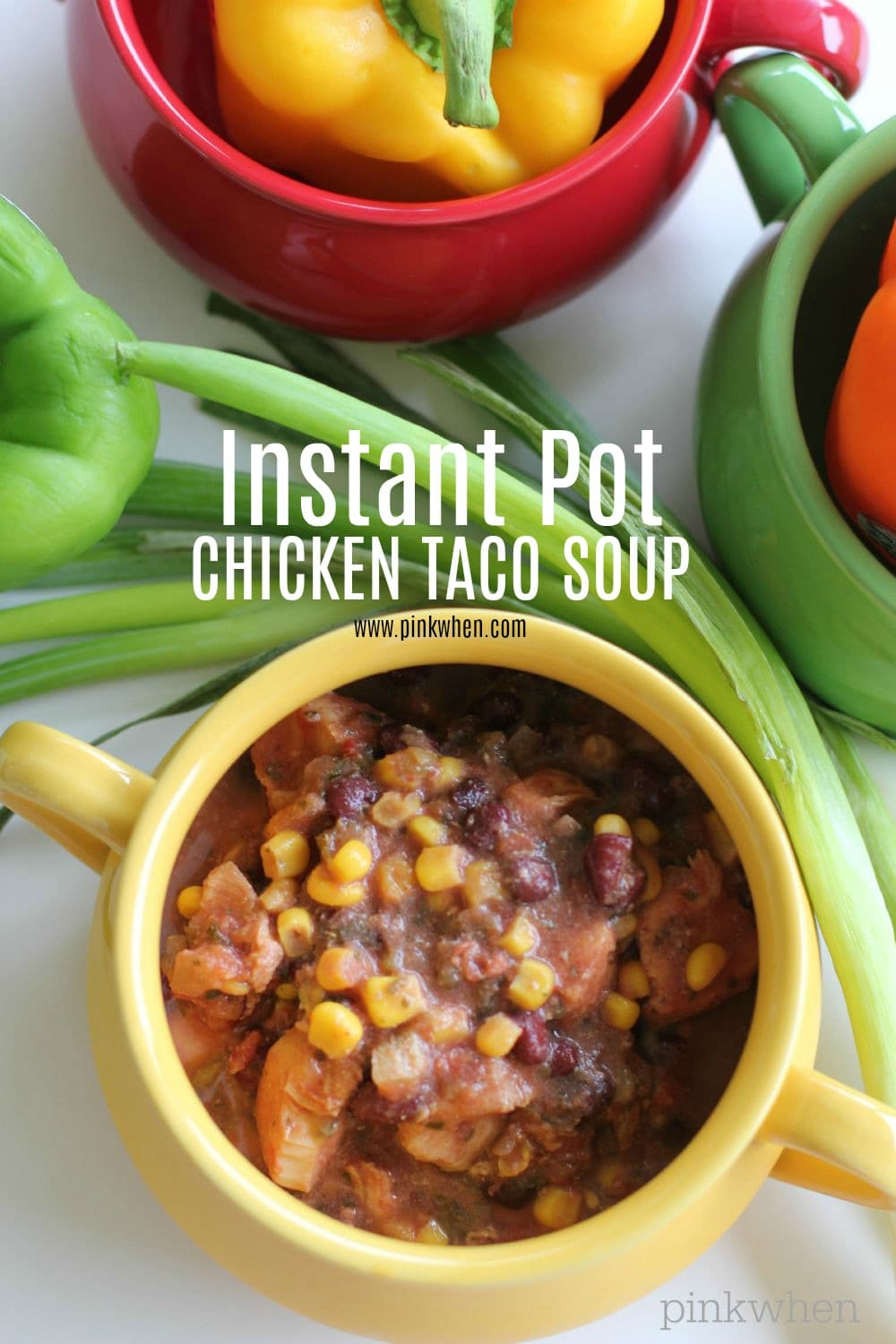 Instant Pot Chicken Taco Soup is a 30-minute meal full of flavor! This deliciously hearty soup is perfect for dinner and great to double for freezer meals. Use the remaining leftovers for a quick and easy lunch. #chickentacosoup #instantpotchickentacosoup #instantpotrecipes