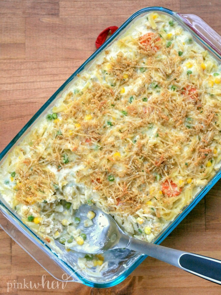 This Chicken Noodle Casserole is comfort food at it's finest! Perfect weeknight and #easydinnerrecipe