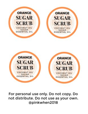 Orange Coconut Sugar Scrub Labels - Free Printable Download - For personal use only. Do not distribute.