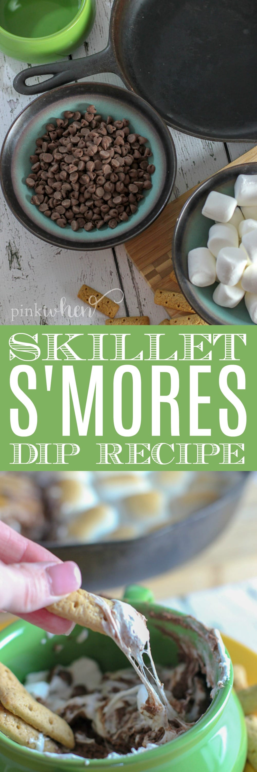 This skillet S'mores Dip is our new favorite way to make S'mores. It's quick and easy, and easily re-heatable. Dip with graham crackers, or even apple slices. It's our favorite dip for the summer!