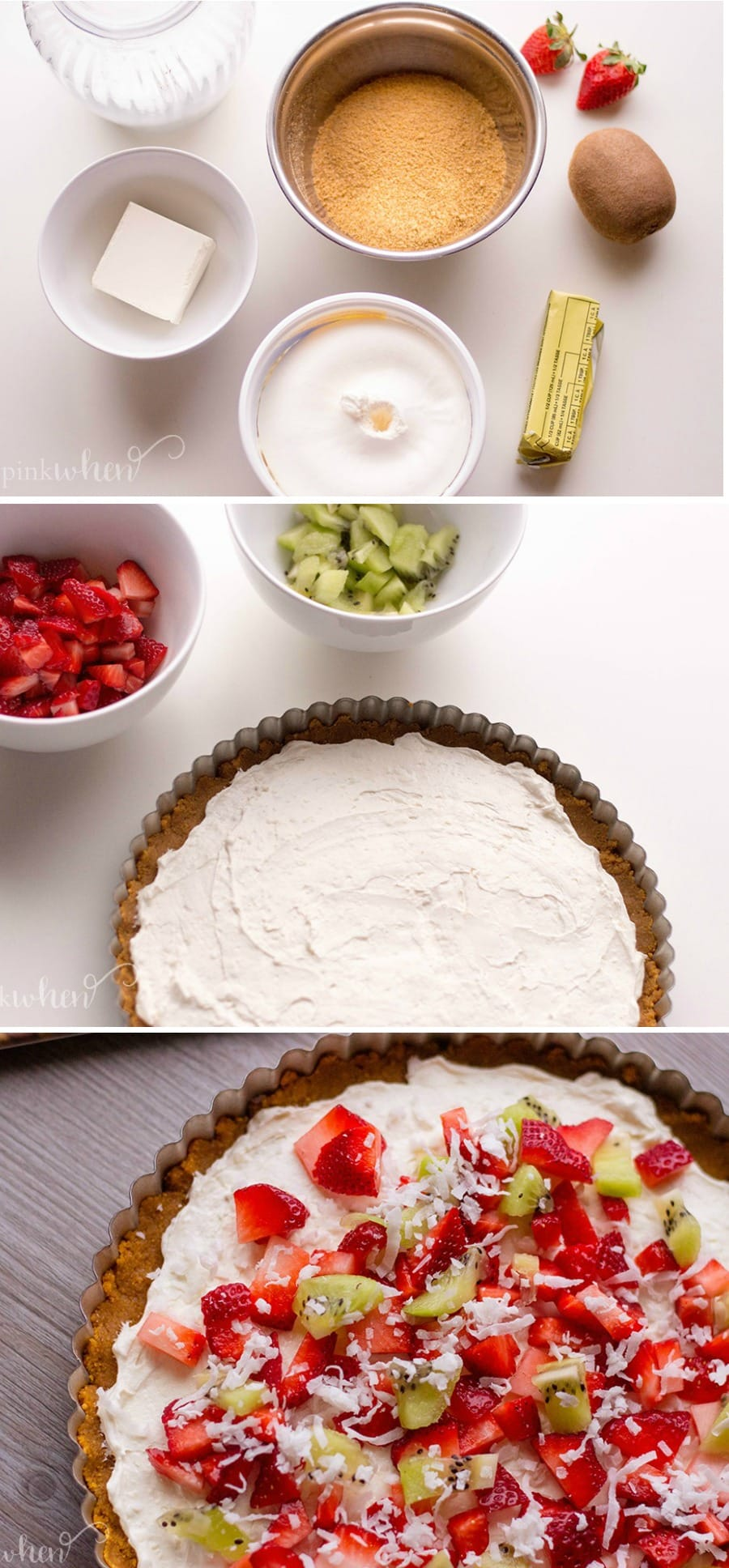 The Ultimate Dessert Fruit Pizza Recipe. Friends and family will be excited for this delicious treat! #fruitpizza #fruitpizzarecipe #dessertpizza #dessertideas