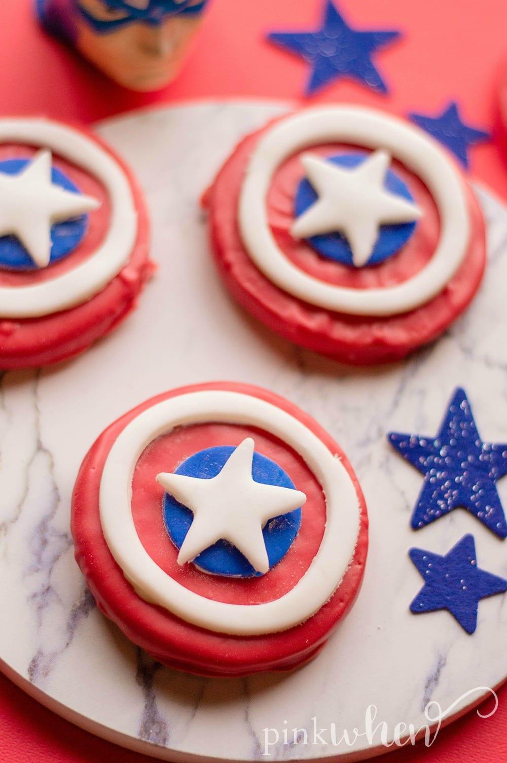 Captain America Shield Cookies #CaptainAmericaShield #CaptainAmericaParty #Avengers
