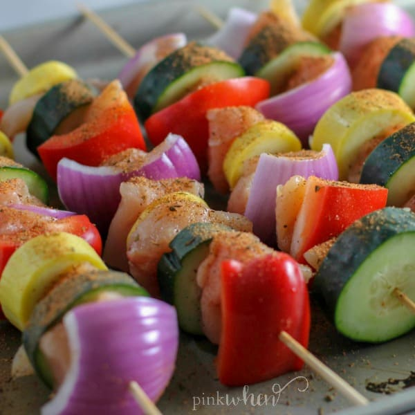 Easy Grilled Chicken Recipe - Grilled Chicken and Vegetable Kabobs!