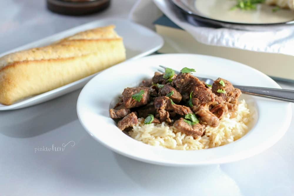 Instant Pot Beef Tips and Rice in a bowl