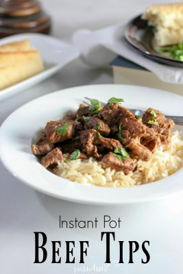 Instant Pot Beef Tips and Rice Recipe - quick and easy with the most tender meat ever! #instantpotrecipes #instantpot #beeftips #beeftipsandrice