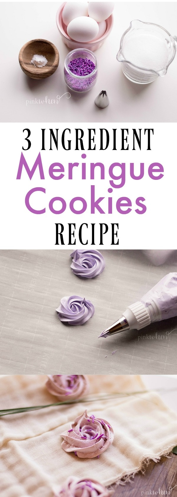 Simple 3 Ingredient Meringue Cookies Recipe #meringuecookies #cookierecipe