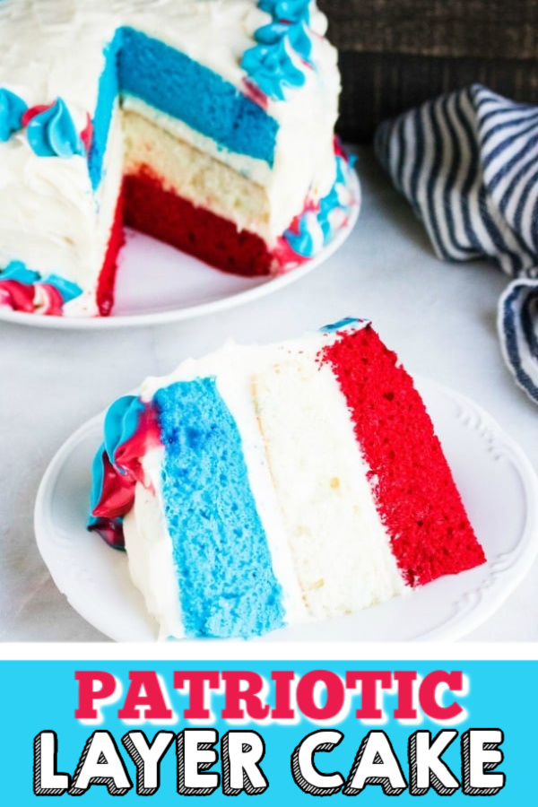 This Red White & Blue Patriotic Layer Cake is the perfect cake for the Fourth of July, Memorial Day, and Labor Day. Made with layers of red, white, and blue colored cakes and topped with a delicious frosting. You're going to love how easy this is to make, and you're friends and family are going to devour it.