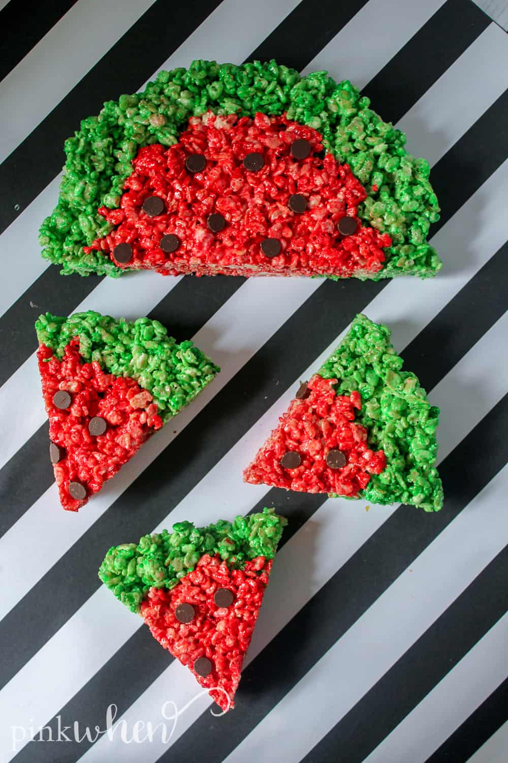 This is a new favorite no bake dessert that has been a hit in our household! These watermelon rice krispie treats are gooey, sweet, delicious, and so much fun! They are sure to be a huge hit with the kids and they will have a blast making them.