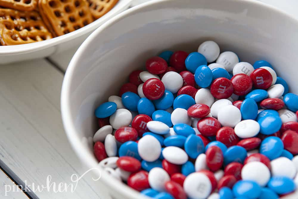 With 4th of July coming up, we have been on the hunt for all kinds of patriotic recipes! You are going to love these patriotic pretzel bites! They're easy to make and very simple, but such a great recipe for kids! These pretzel bites are sure to be a hit.