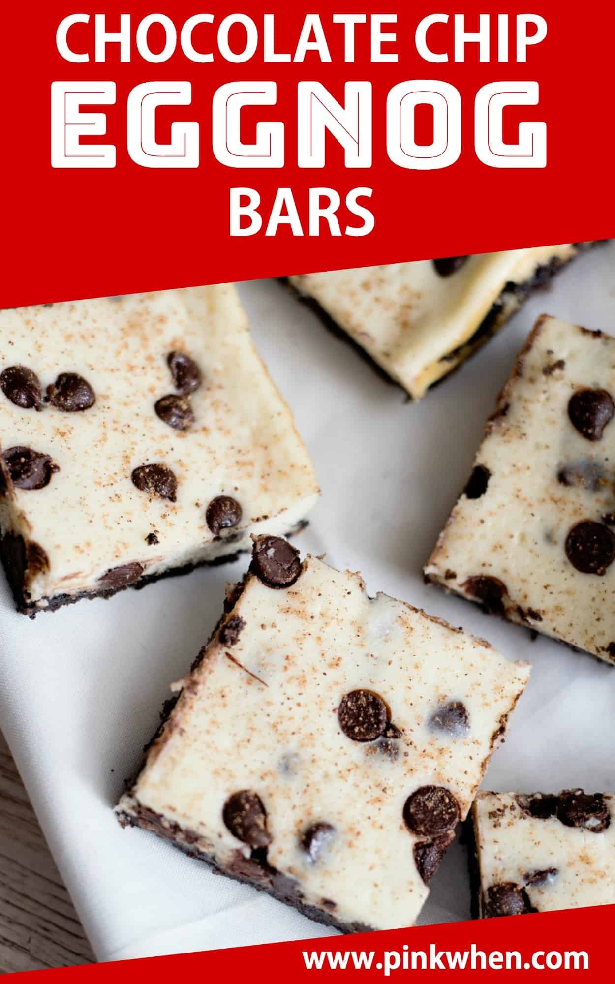 These Chocolate Chip Eggnog Bars are AMAZING! Get ready for the holidays with this twist on cookie bars. #eggnog #holidays #dessert