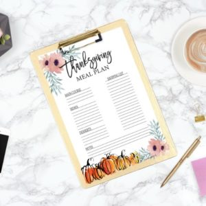 Thanksgiving Menu Free Printable Plan