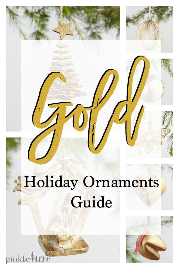 Gold ornaments and gold decor, my favorite shopping list for a Gold Holiday.