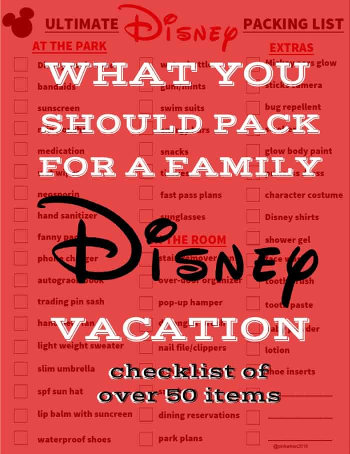 Ultimate Packing List - What you should pack for a family Disney vacation. Free downloadable PDF checklist.