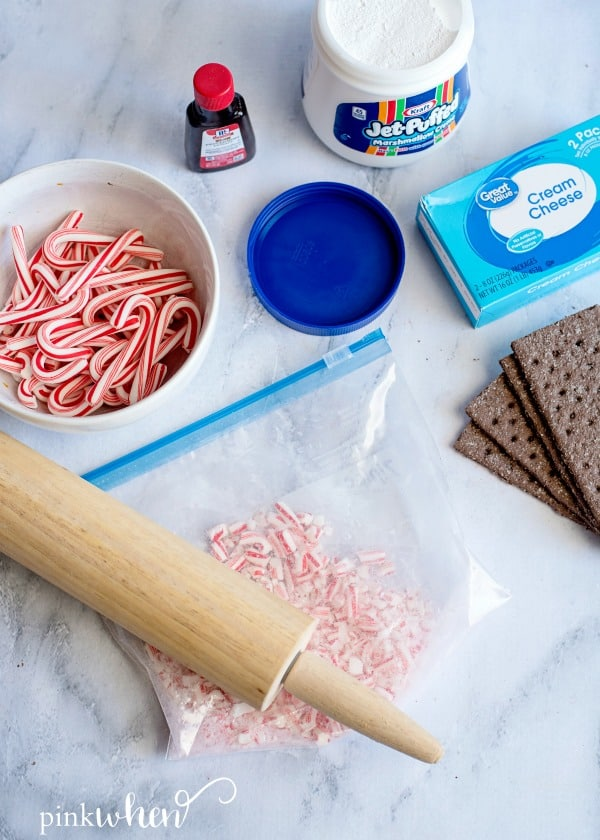 Crushed candy canes and ingredients for cream cheese dip