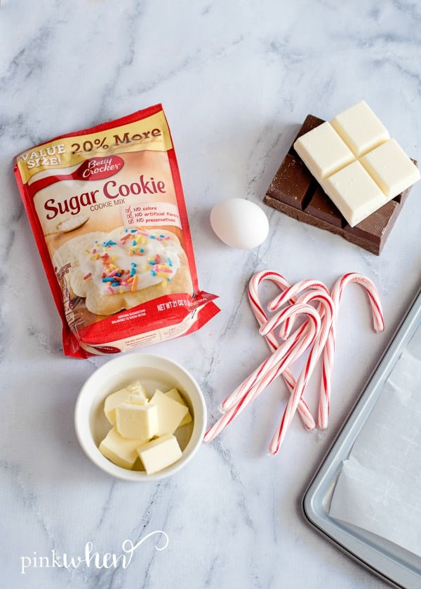 ingredients for peppermint bark cookies