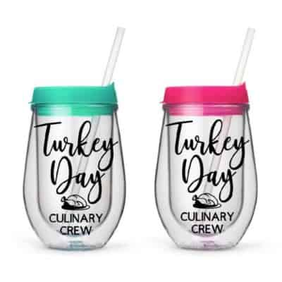 Turkey Day Culinary Crew drinking glasses