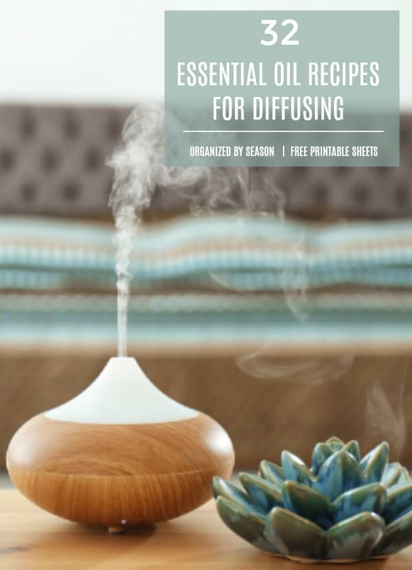 LOVE this list of 32 ESSENTIAL OIL RECIPES for diffusing. It's conveniently broken down into seasons and in a free printable file format. Grab one, or grab them all. #essentialoilrecipes #essentialoildiffuserrecipes
