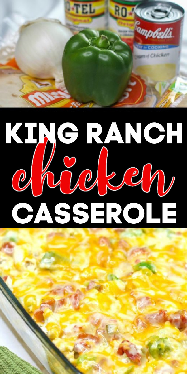 Family Approved Easy Recipe! This hearty and delicious King Ranch Chicken Casserole is made with chicken, ranch, cheese, chips, seasonings, and more. It's a delicious and easy recipe that will have your friends and family devouring it fast!