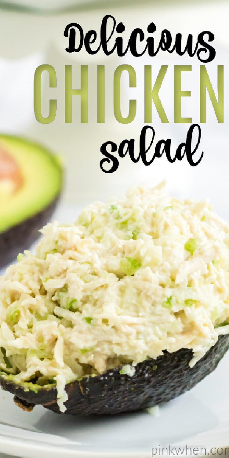 This healthy chicken and salad in quick and easy! Made with Rotisseries chicken, yogurt, light mayo, lemon, celery, apples, and more. You're going to love this light and delicious chicken salad recipe.