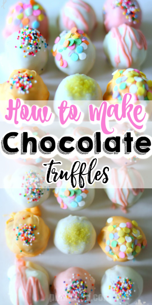 These delicious chocolate truffles are fun and easy and made with just 4 ingredients. Decorate them for any occasion and watch how fast they disappear.