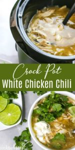 White Chicken Chili in a Crock Pot and served in a bowl.