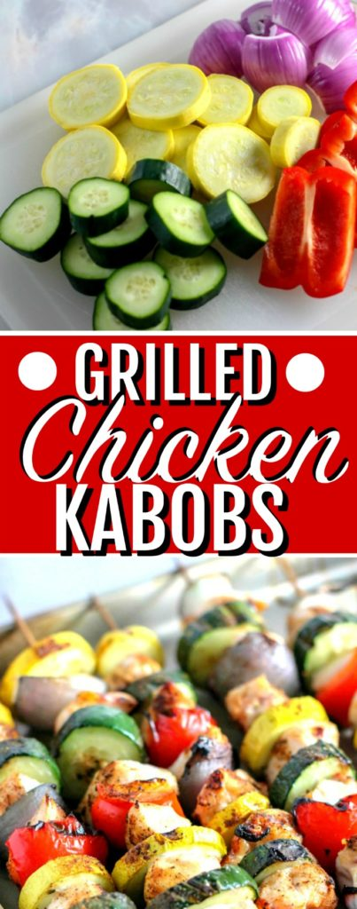Grilled Chicken Kabobs vegetables and skewers pin image.