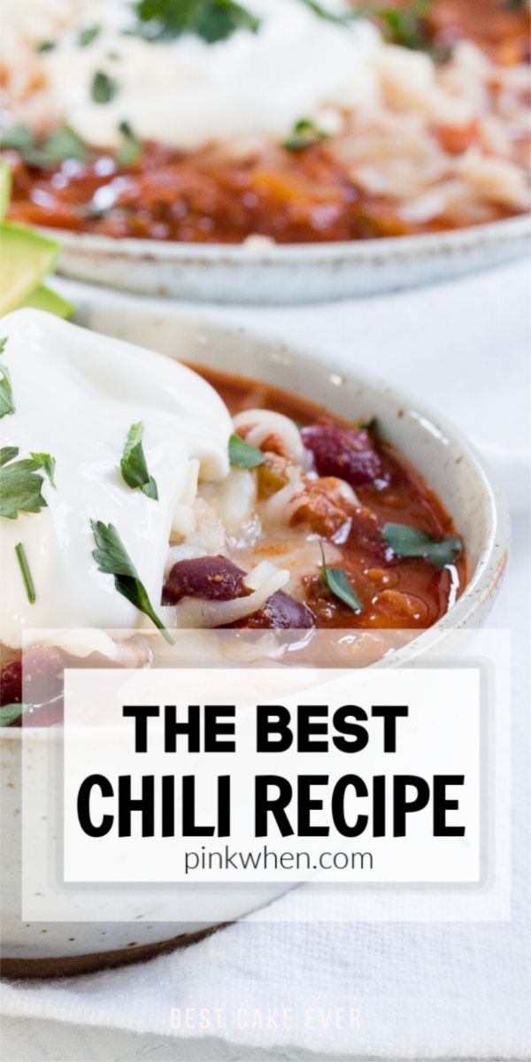 The best chili recipe topped with sour cream and onions.