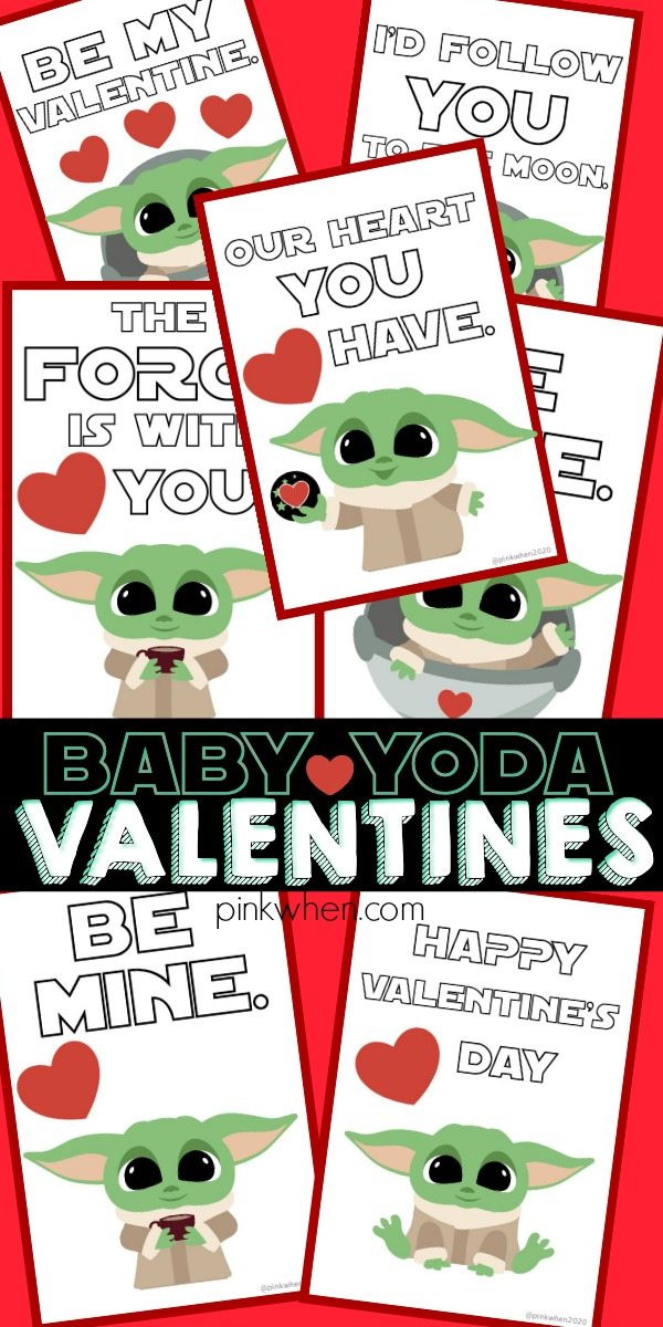 Baby Yoda Valentine Printables photo collage