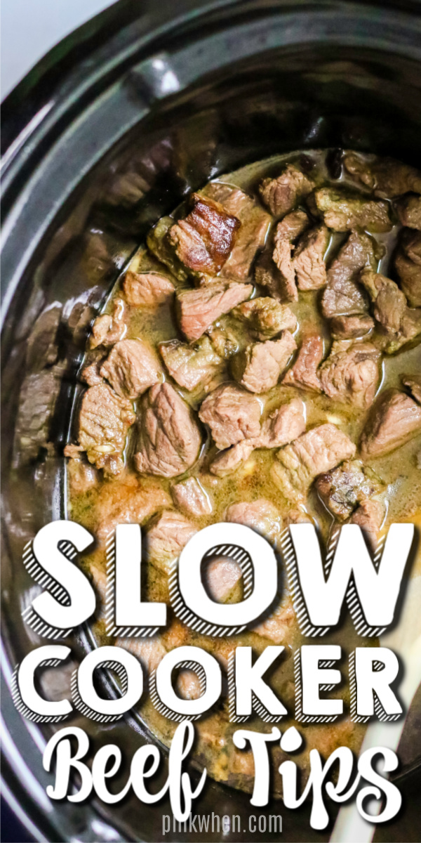 Slow Cooker Beef Tips made in the Crock Pot are one of my favorite ways to make beef tips. They're delicious, tender, and full of mouthwatering flavors. You can double this beef tips recipe and meal prep so may different things. It's so versatile and there are so many different ways to serve it. #beeftips #crockpot #slowcooker #easydinner