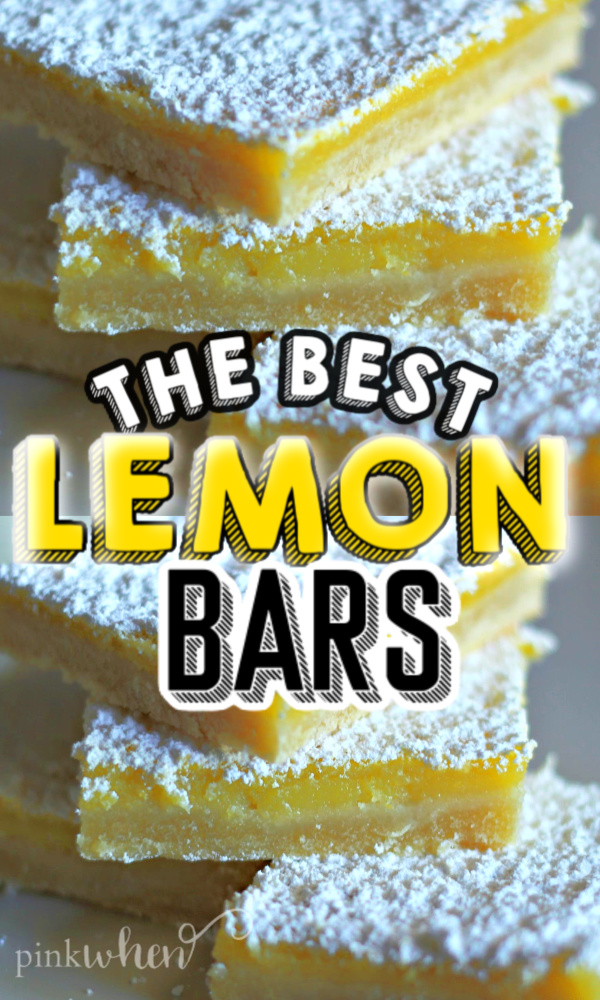 stacked lemon bars with powdered sugar topping.