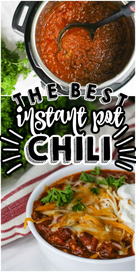 Instant Pot chili in a pressure cooker and in a bowl with cheese and sour cream.