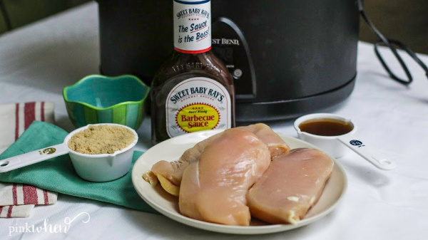 Ingredients to make Slow Cooker BBQ Chicken in the Crock Pot.