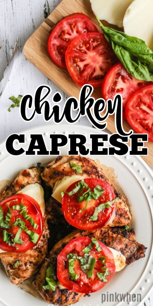 Caprese Chicken is a gluten free, low carb, and healthy chicken recipe that's made in less than 30 minutes. It's full of tangy balsamic and smokey flavors, fresh mozzarella, juicy tomato, and fresh basil. It's a family dinner that's quick, easy, and makes amazing leftovers!