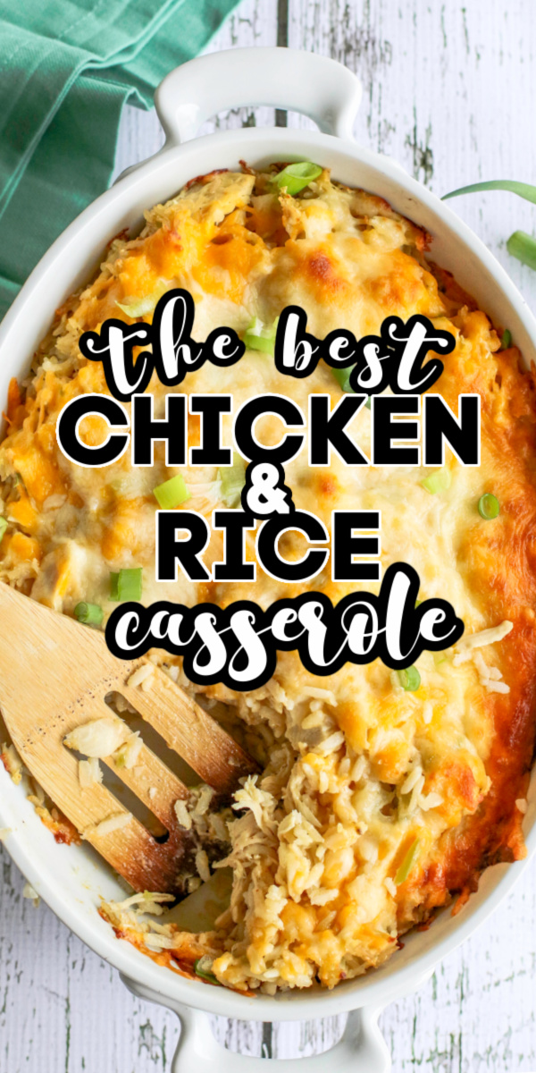 This easy chicken and rice casserole is made with shredded chicken, cheese, rice, vegetables, and the perfect blend of seasonings for the easiest that will please the whole family.