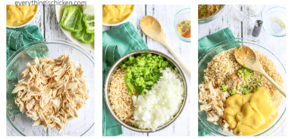 Steps for making Cheesy Chicken and Rice casserole.