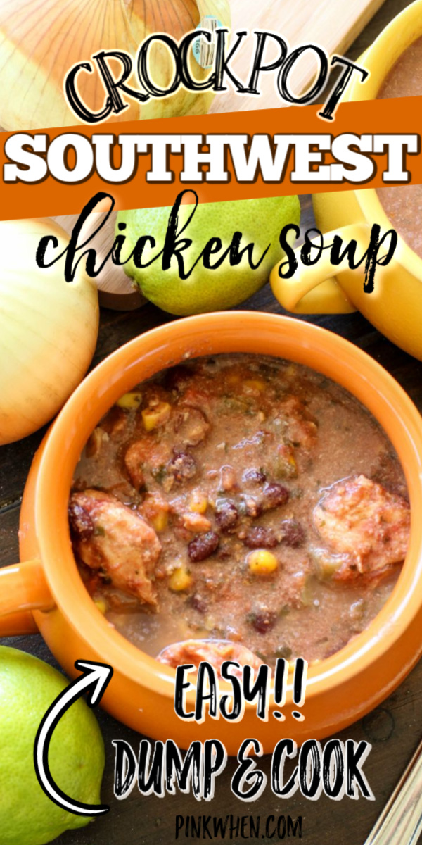 This Crockpot Southwest Chicken Soup is a creamy and chunky chicken soup that is full of southwestern flavors. Make with chicken, veggies, legumes, and more. It makes the perfect Crockpot Freezer Meal.