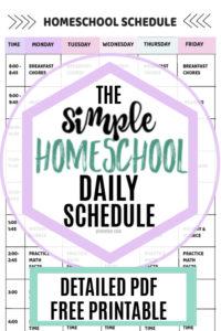 schedule for homeschool pinnable image