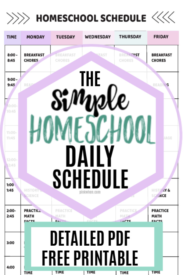 This simple and easy schedule for homeschool is perfect for the first time homeschooling family. We use 45 minute blocks and lots of time for recharging those brain cells. We created this schedule for homeschool that is working for us. It's an easy homeschool schedule that our Elementary student is able to follow while working through all of her subjects. FREE PRINTABLE DOWNLOAD!