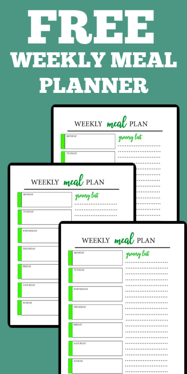 free meal planner printable with grocery list - pinnable image