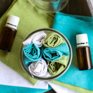 Homemade Disinfecting Wipes in a glass jar.