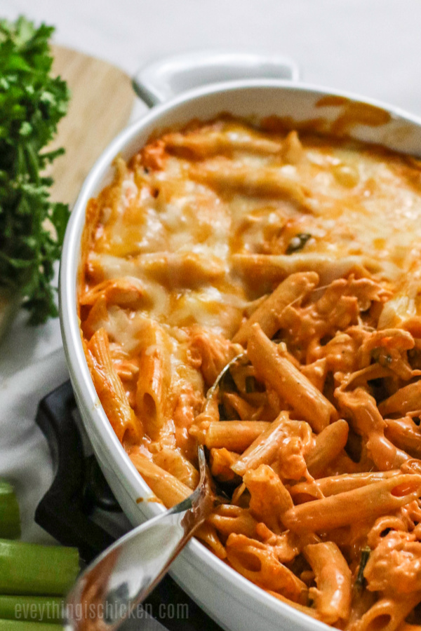 Buffalo Chicken Pasta in a white serving dish