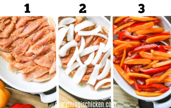Step collage on how to make oven baked chicken fajitas