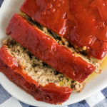Sliced homemade meatloaf