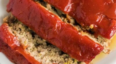 Sliced homemade meatloaf