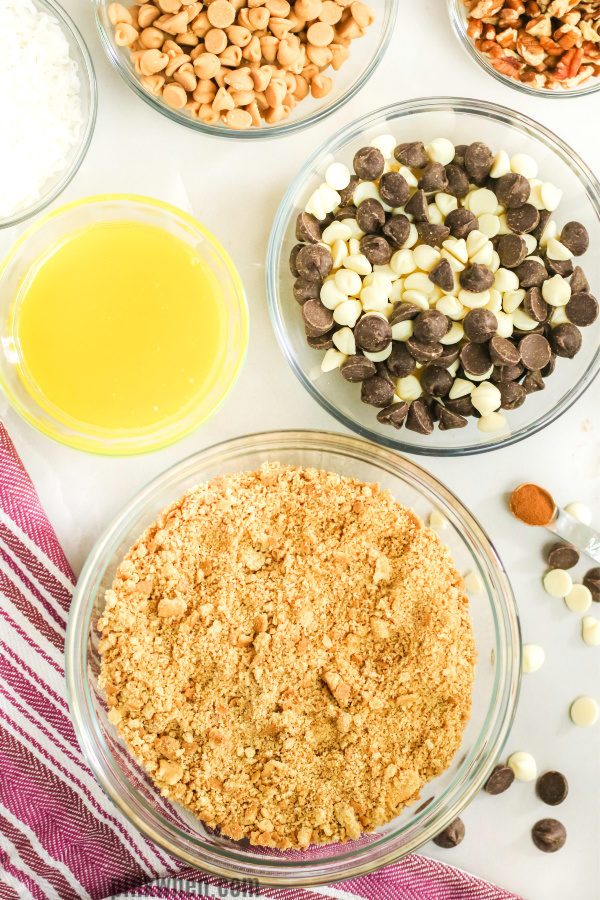 Ingredients needed to make Magic Cookie Bars