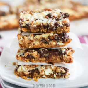 Stacked Magic Cookie Bars ready to serve.