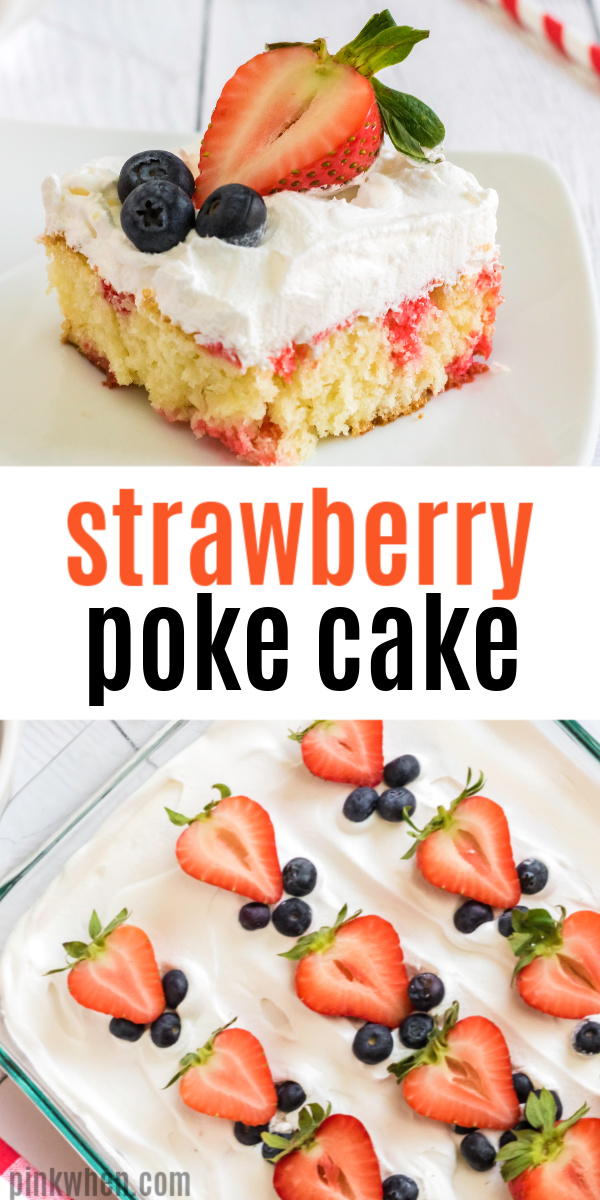 This Strawberry Poke Cake is one of my favorite, easy, dessert recipes. Made with a moist white cake mix, strawberry gelatin mixture, whipped cream, and strawberries to top it off. It's a light and fresh cake your whole family is sure to enjoy.