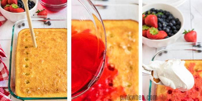 Step by step photos on how to make a strawberry poke cake.