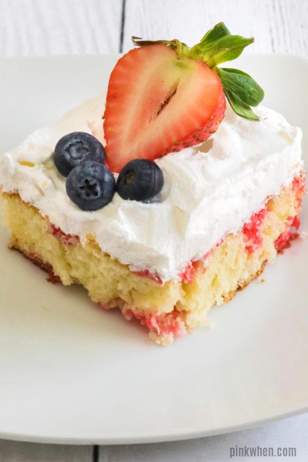 Strawberry Poke cake ready to eat!